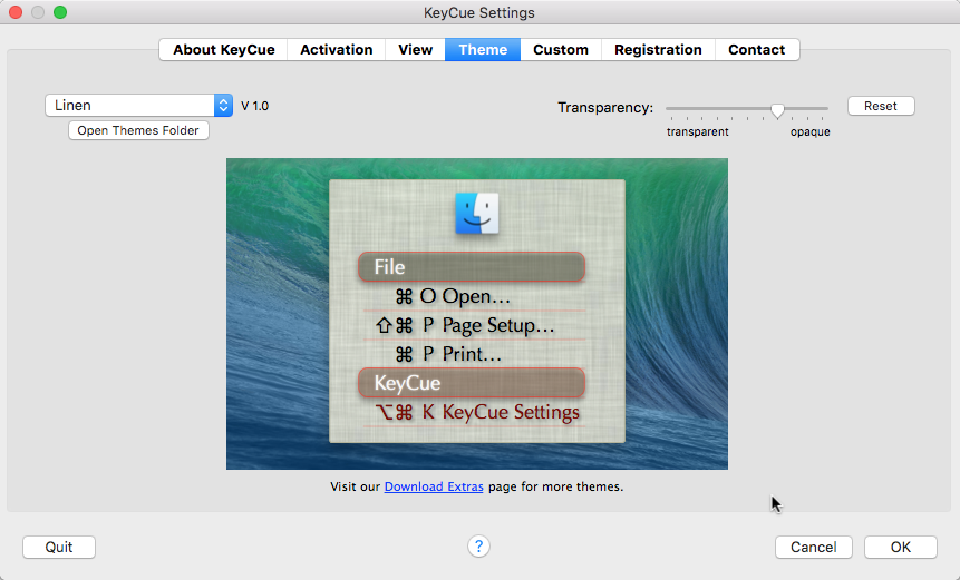 KeyCue settings