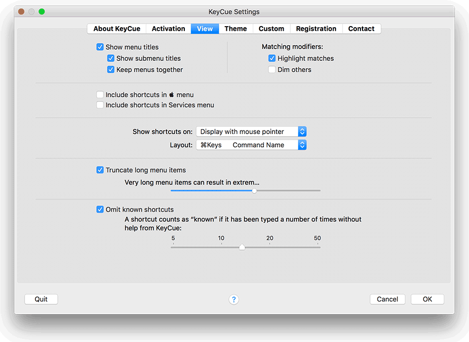 KeyCue view settings