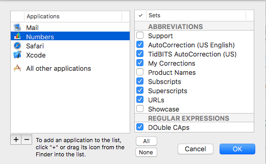 Application-specific settings